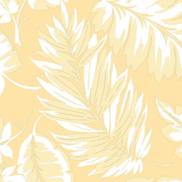 yellow palm leaves wallcovering