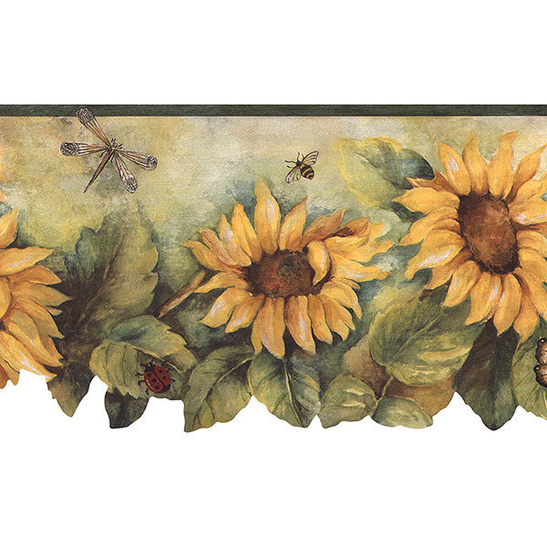 green yellow and red sunflower die cut border